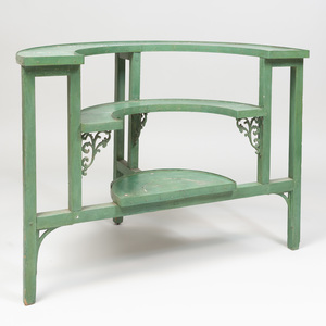 Metal-Mounted Green Painted Wood Three Tier Plant Stand