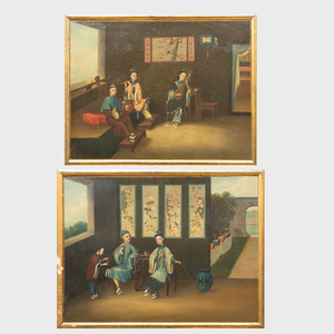 Chinese Export School:  Scenes of Relaxation: A Pair