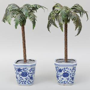 Pair of Painted Tin Palm Trees in Blue and White Porcelain Jardinières, Modern
