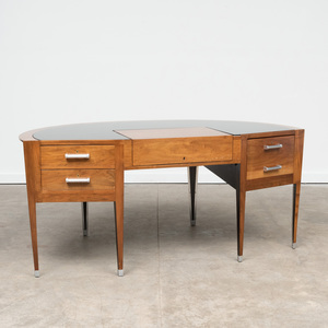Art Deco Aluminum-Mounted Walnut Glass Inset Desk