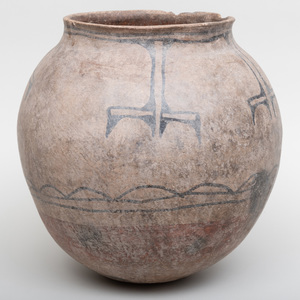 Cochiti Paint Decorated Clay Storage Vessel