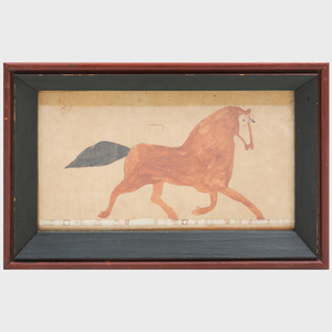 Plains Culture Ledger Drawing of a Horse