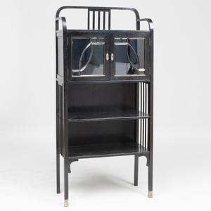 J. & J. Kohn Limed Oak and Cut Glass Cabinet, Attributed to Josef Hoffmann