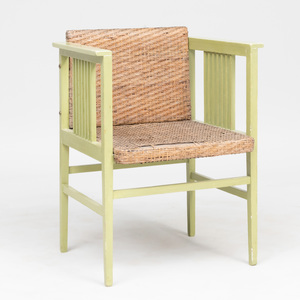 Hans Vollmer Green Painted and Caned Armchair