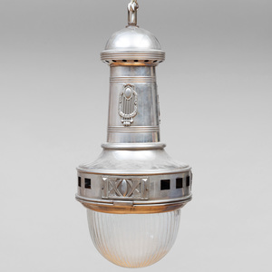 Otto Wagner Nickel and Glass Hanging Lamp