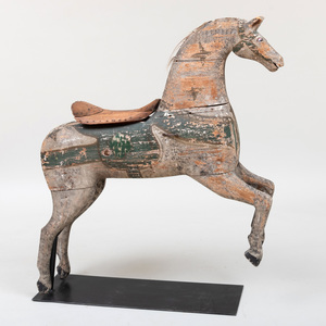 French Polychrome Painted Wood Carousel Horse