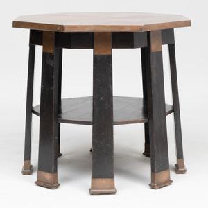 Maximilian Schmidt Copper-Mounted Ebonized Octagonal Center Table