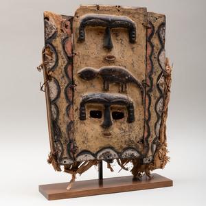 Nigerian Painted Wood and Raffia Plank Mask, Ibibio Eket