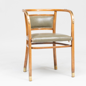 Otto Wagner Brass-Mounted Birch and Leather 'Thonet 5' Armchair, for Thonet