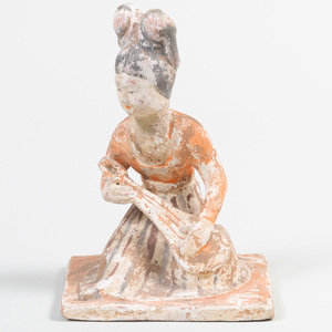 Chinese Tang Style Painted Pottery Tomb Figure of a Musician