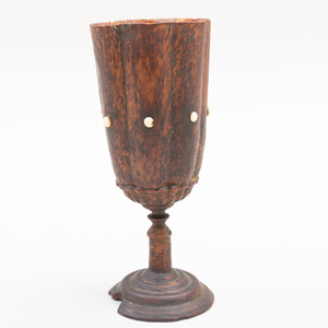 Scandinavian Turned Burlwood and Bone Heptagonal Goblet