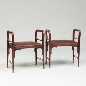 Pair J. & J. Kohn Stained Birch Tabouret