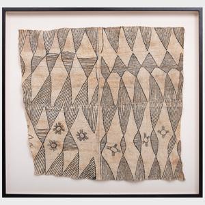 Democratic Republic of the Congo Painted Bark Cloth, Mbuti Culture
