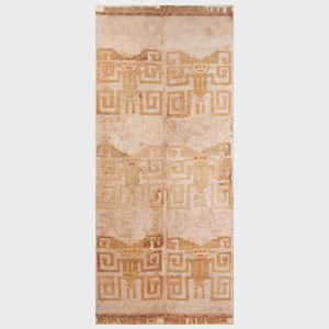 Large Chimu Brocaded Cotton and Wool Textile with Six Birthing Dieties, Peru