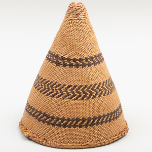 Washoe Small Polychrome Woven Burden Conical Basket, Attributed to Louisa Keyser/Datsolalee