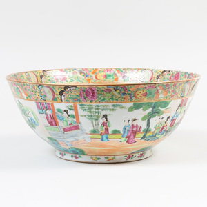 Chinese Export Rose Medallion Porcelain Punch Bowl