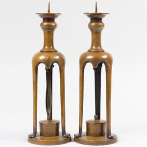 Pair of Asian Bronze Candlesticks