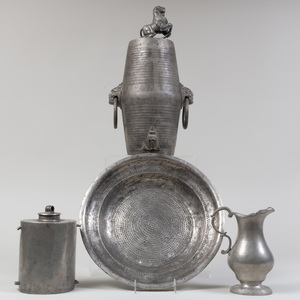 Three Pewter Vessels and a Charger