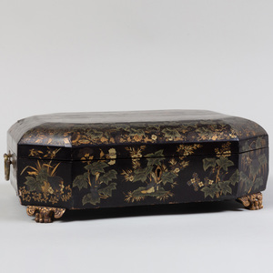 Chinese Export Gilt-Decorated Black Lacquer Games Box