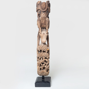 Chinese Carved Wood Plinth Fragment
