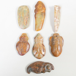 Group of Chinese Jade Hongshan Style Zoomorphic Pendants