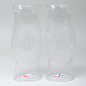 Pair of Bohemian Etched Glass Hurricane Shades