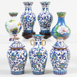 Chinese Cloisonne Miniature Five Piece Garniture and Two Miniature Vases