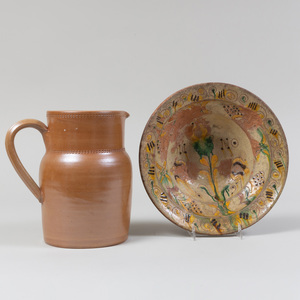 Folk Art Glazed Redware Bowl and French Earthenware Pitcher