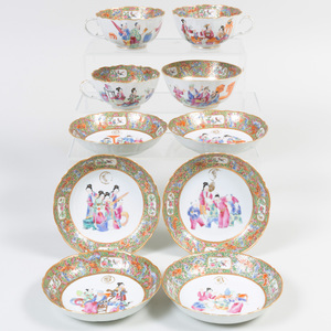 Group of Chinese Export Rose Medallion Porcelain Teawares