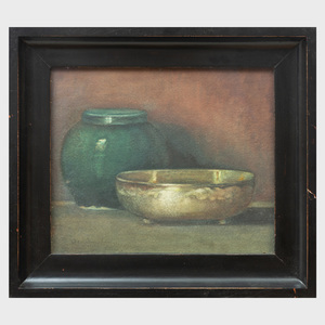 20th Century School: Still Life with Bowl and Ginger Jar