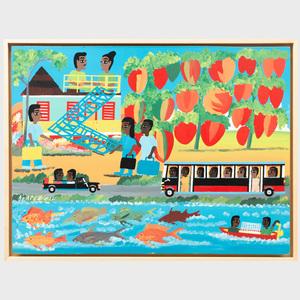 Albert Artwell (b.1942): Port Mana, Passing the Tomato Farm