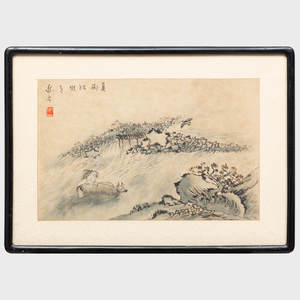 Chinese Painting of a Farmer and a Water Buffalo