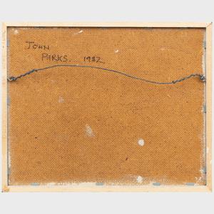 John Parks (b. 1952): Landscape with Bench