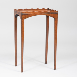 Edwardian Inlaid Satinwood Kettle Stand with Scalloped Edge