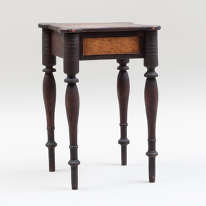 Fine Miniature Federal Mahogany and Bird's Eye Maple Stand, Massachusetts