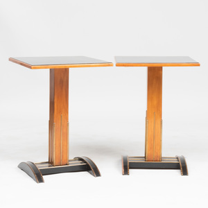 Pair of Viennese Brass-Mounted Enbonized Fruitwood Side Tables