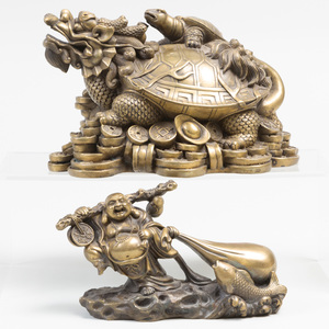 Chinese Bronze Turtle Emblematic of the North and a Chinese Bronze Figure of Buddha with a Golden Bag of Treasures
