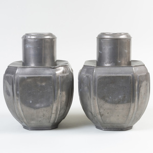 Pair of Chinese Pewter Tea Cannisters