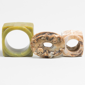 Three Chinese Hardstone Archaistic Objects