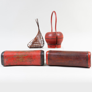 Chinese Red Lacquer Basket and a Pair of Lacquer Pillows