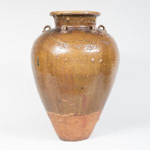 Large Thai Earthenware Brown Glazed Jar