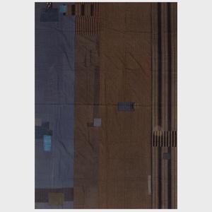 Japanese Sri Indigo Patch Cotton Textile and a Hardwood Stool