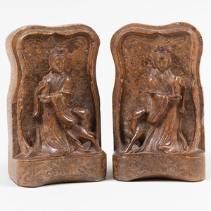 Pair of Chinese Carved Soapstone Book Ends Carved with Guanyin