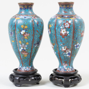 Pair of Chinese Blue Ground Cloisonné Vases