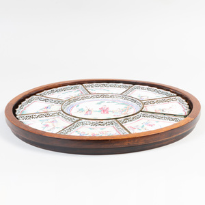 Canton Enamel Sweetmeat Dishes and Hardwood Tray