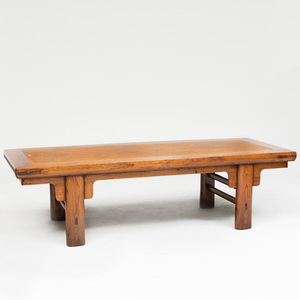 Chinese Hardwood and Woven Reed Low Table