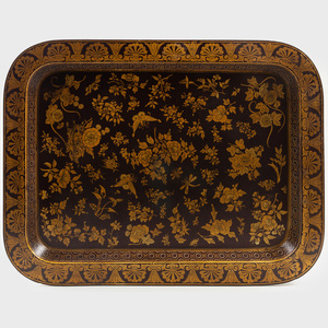 Chinese Export Style Lacquer and Gold Tray with Peonies and Butterflies