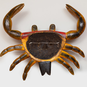 Mexican Carved and Painted Folk Art Crab Mask