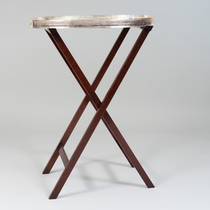 Large Sheffield Plate Tray on Modern Wooden Folding Stand