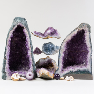 Group of Amethyst Geodes and Fragments